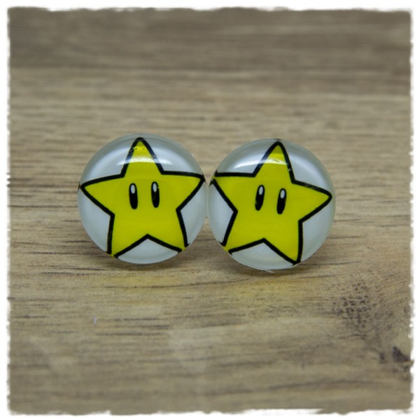 1 Paar Ohrstecker mit gelbem Stern auf weißem Hintergrund