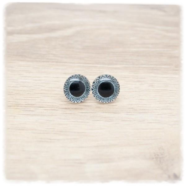 1 Paar Ohrstecker in 12 mm schwarz mit Mandala