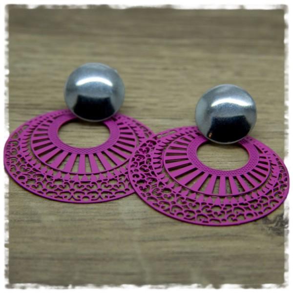 1 Paar Ohrhänger in 40 mm pink silbern