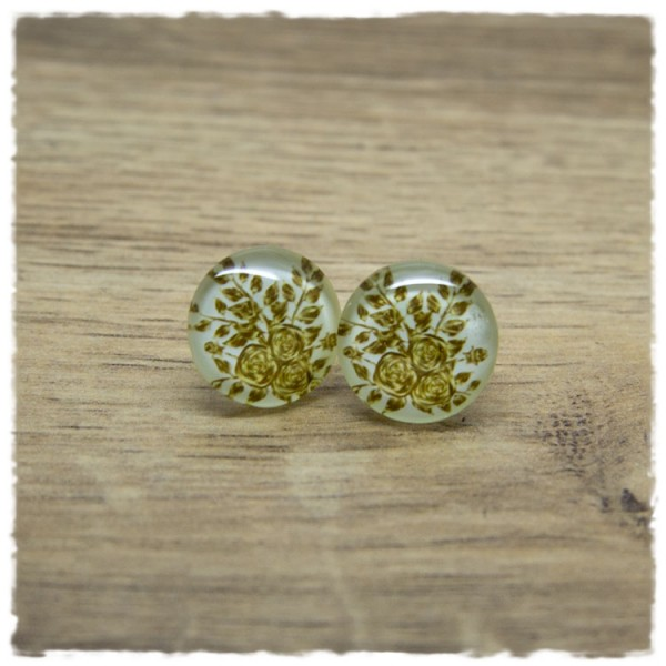 1 Paar Ohrstecker in 16 mm weiß mit goldenen Blumen