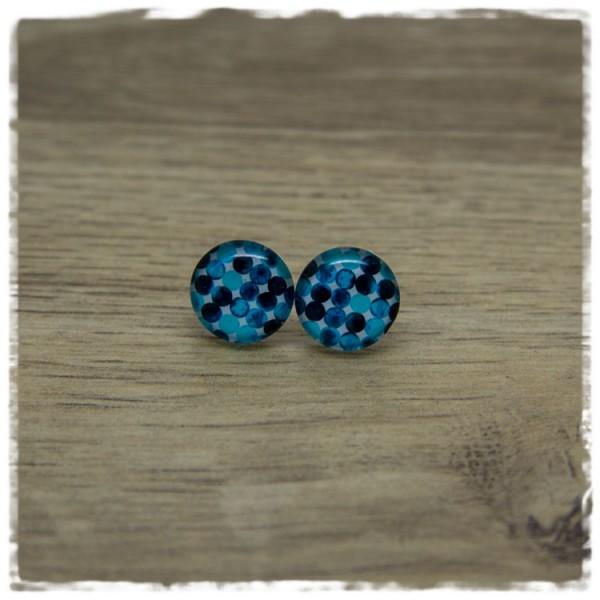 1 Paar Ohrstecker in 12 mm weiß mit blauen Punkten