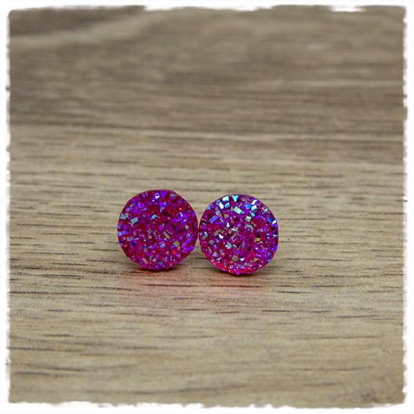 1 Paar Ohrstecker in 12 mm Glitzer rosa