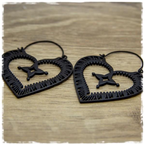1 Paar Ohrhänger in 45 mm herzförmig schwarz