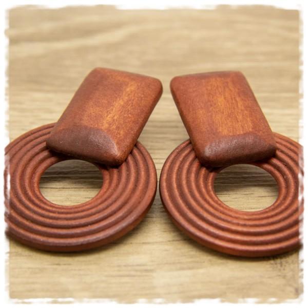 1 Paar Holzohrstecker braun in 40 mm