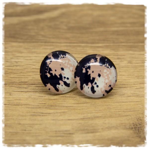 1 Paar Ohrstecker dunkelblau, rosa und weiß gemustert