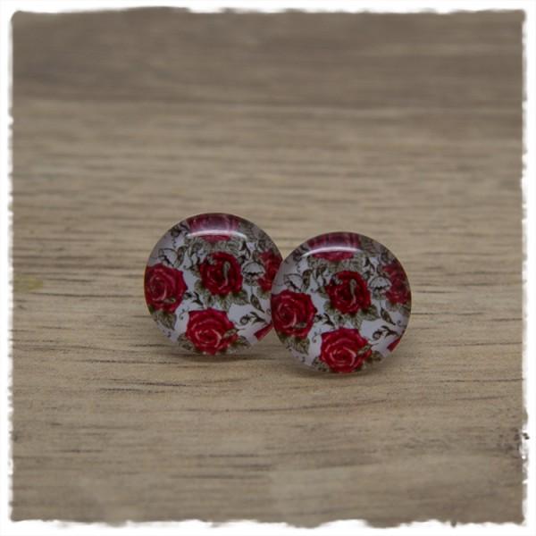 1 Paar Ohrstecker in 16 mm mit roten Rosen auf weißem Hintergrund