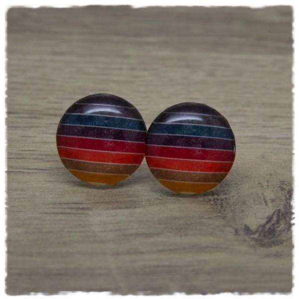 1 Paar Ohrstecker mehrfarbig gestreift in dunklen Tönen