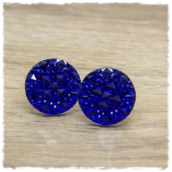 1 Paar Glitzerohrstecker in 20 mm blau