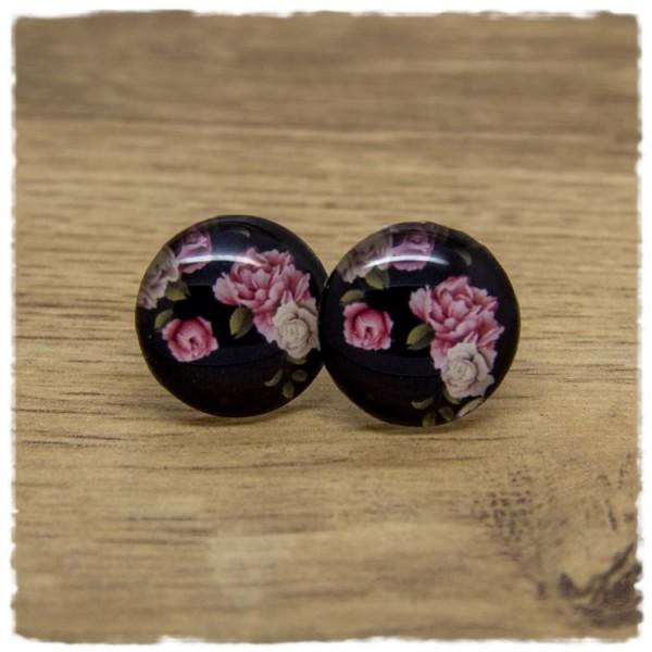 1 Paar Ohrstecker schwarz mit rosa und beigen Blüten