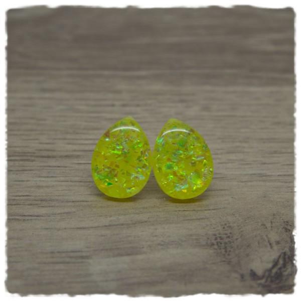 1 Paar kleine Ohrstecker in Tropfenform gelb mit Glitterflakes