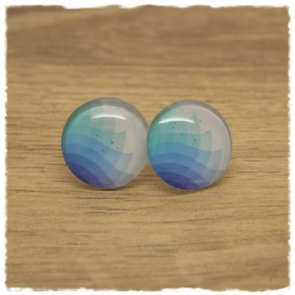 1 Paar Ohrstecker weiß mit Blautönen