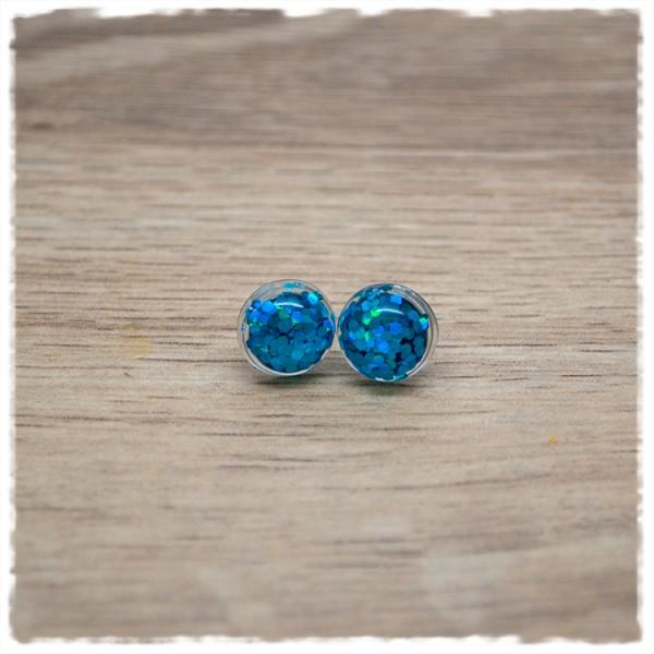 1 Paar Ohrstecker in 10 mm mit blauem Glitter