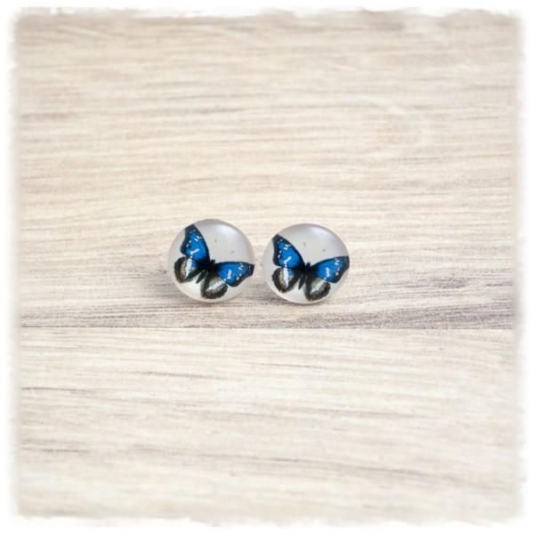1 Paar Ohrstecker in 12 mm mit blauem Schmetterling