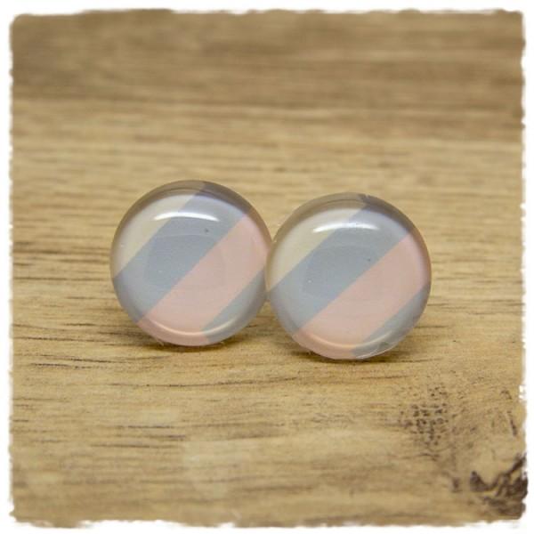 1 Paar Ohrstecker rosa, grau, beige gestreift