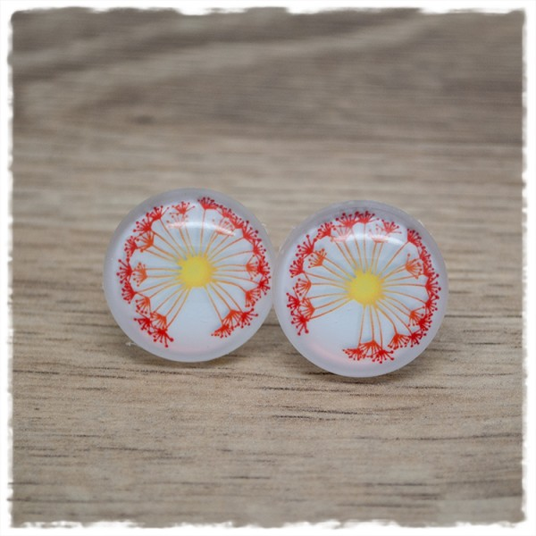 1 Paar Ohrstecker in 20 mm Pusteblume rot-gelb