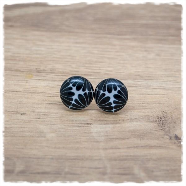 1 Paar Ohrstecker 14 mm mit schwarz weißem Muster