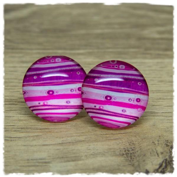 1 Paar Ohrstecker in 25 mm pink weiß gestreift
