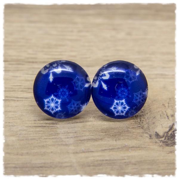1 Paar Ohrstecker blau mit weißen Schneeflocken