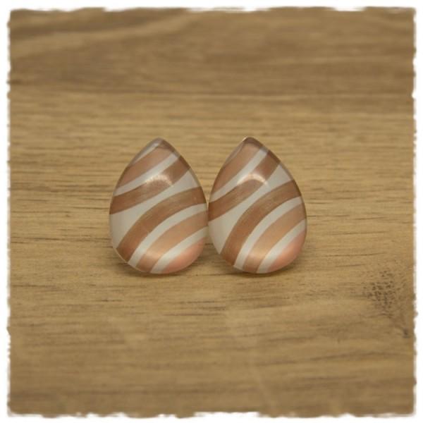 1 Paar große Ohrstecker in Tropfenform hellbraun, rosa und weiß gestreift
