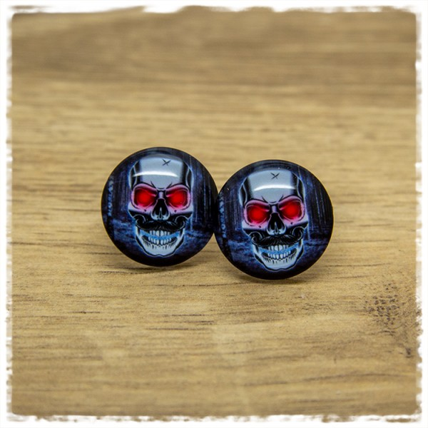 1 Paar Ohrstecker Totenkopf mit roten Augen
