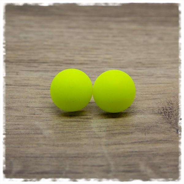 1 Paar Ohrstecker in 16 mm matt gelb