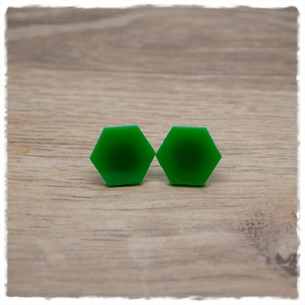 1 Paar flache Ohrstecker sechseckig in 16 mm grün