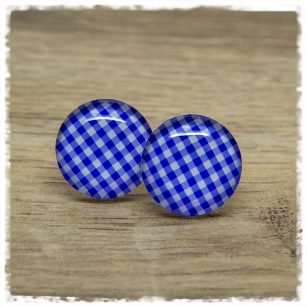 1 Paar Ohrstecker in 20 mm blau kariert