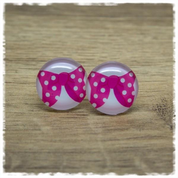 1 Paar Ohrstecker mit pinker Schleife und weißen Punkten