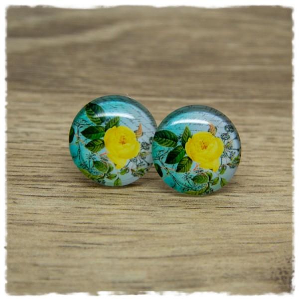 1 Paar Ohrstecker mit gelber Blüte