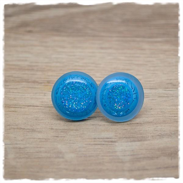 1 Paar Ohrstecker 18 mm leuchtendes blau mit Glitzer