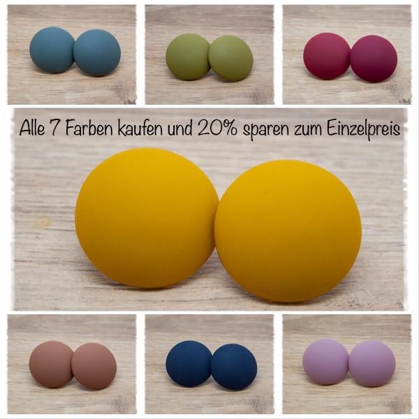 7 Paar Ohrstecker in 25 mm einfarbig matt alle Farben