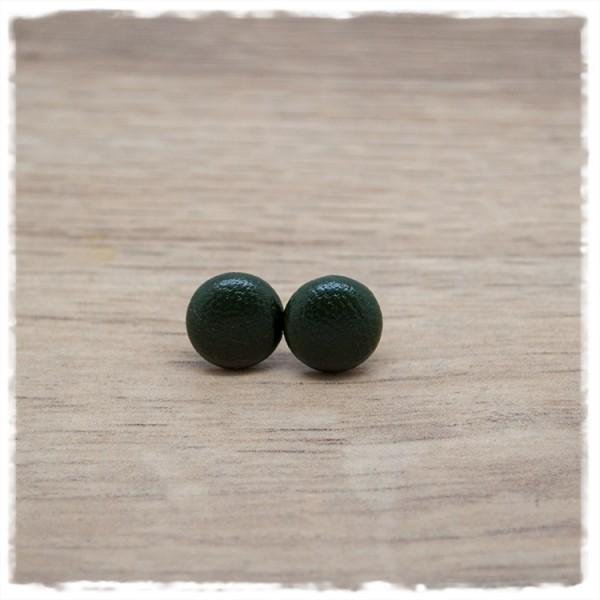1 Paar Ohrstecker in 10 mm in dunkelgrünem Leder