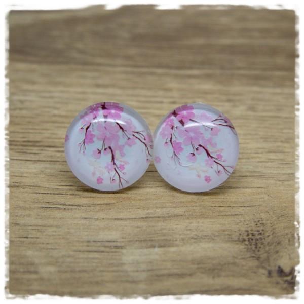 1 Paar Ohrstecker Zweig mit rosa Blüten