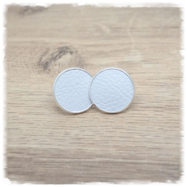 1 Paar Lederohrstecker weiß mit silberner Fassung