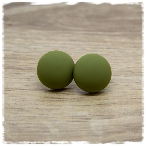 1 Paar Ohrstecker 18 mm olivgrün matt
