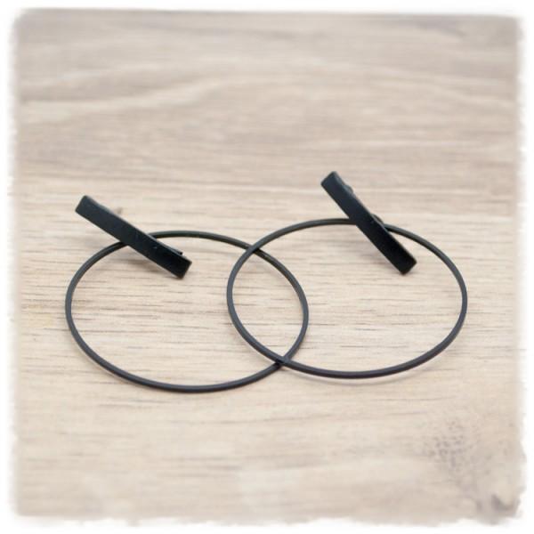 1 Paar Ohrhänger in 35 mm Creolen schwarz