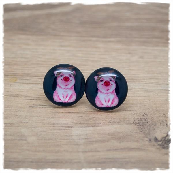 1 Paar Ohrstecker in 18 mm mit Schweinchen