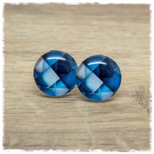 1 Paar Ohrstecker mit blauen Quadraten