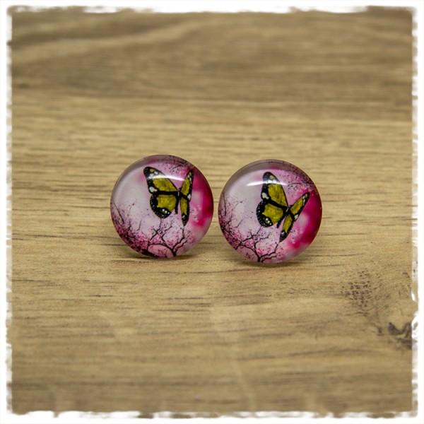 1 Paar Ohrstecker rosa mit gelbem Schmetterling