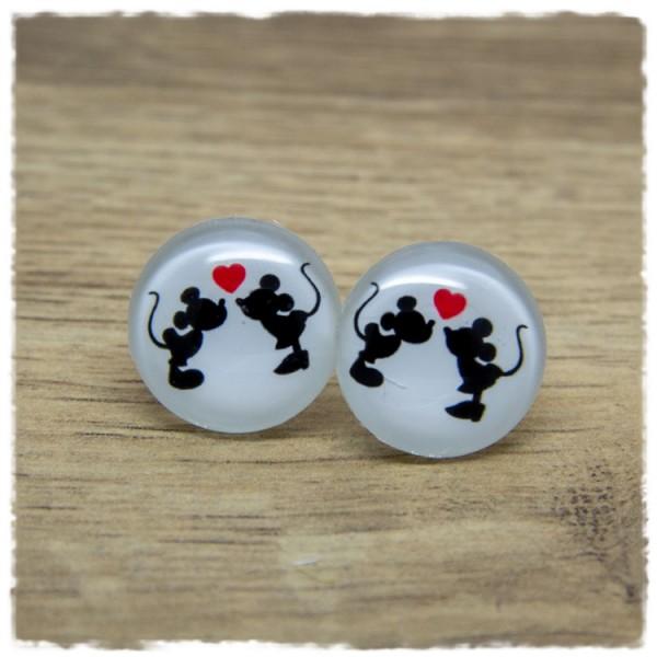 1 Paar Ohrstecker mit zwei Mäusen und Herz