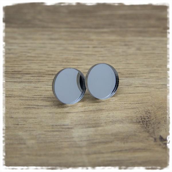1 Paar Ohrstecker 14 mm spiegelnd silber