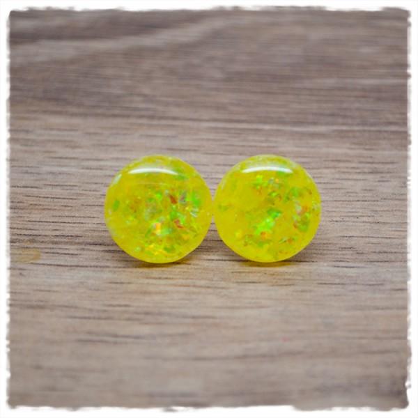 1 Paar Ohrstecker in 16 mm gelb mit Glitterflakes