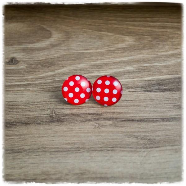 1 Paar Ohrstecker 12mm rot mit weißen Punkten