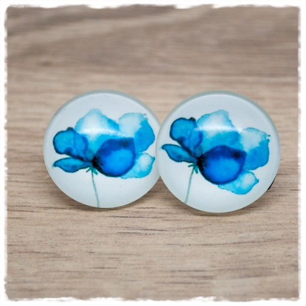 1 Paar Ohrstecker in 25 mm mit blauer Blüte (wahlweise als Ohrclips)