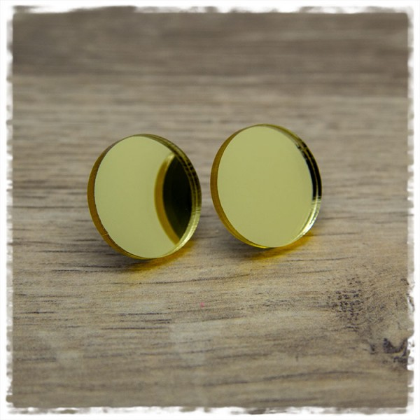 1 Paar Ohrstecker in 20 mm spiegelnd golden