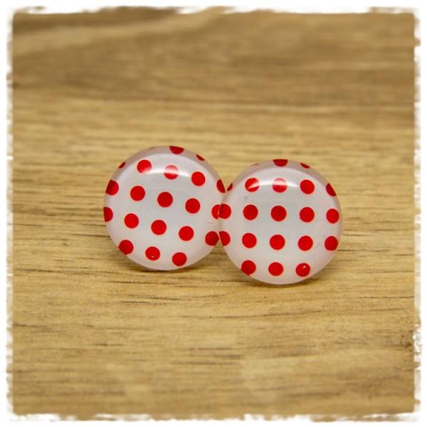 1 Paar Ohrstecker weiß mit roten Punkten
