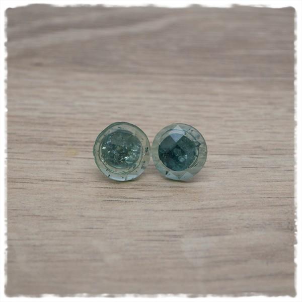 1 Paar Ohrstecker 14 mm einfarbig grün geschliffen