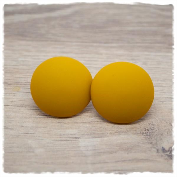 1 Paar Ohrstecker in 25 mm einfarbig senfgelb matt