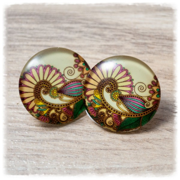 1 Paar Ohrstecker in 25 mm mit Paisleymuster (wahlweise als Ohrclips)