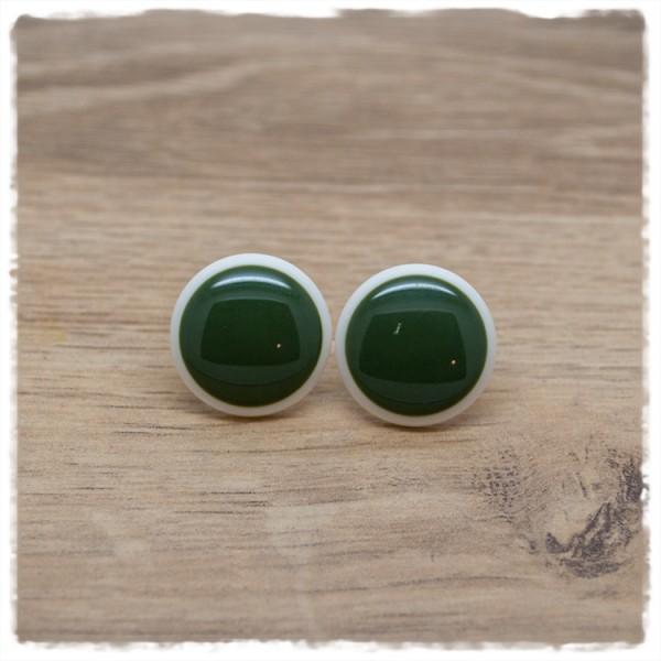 1 Paar Ohrstecker in 20 mm grün mit weißem Rand
